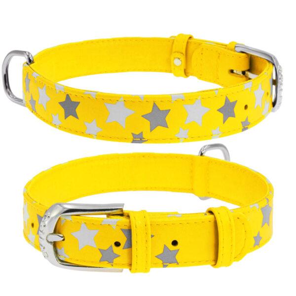 lecleps coleira waudog glamour amarelo com estrelas